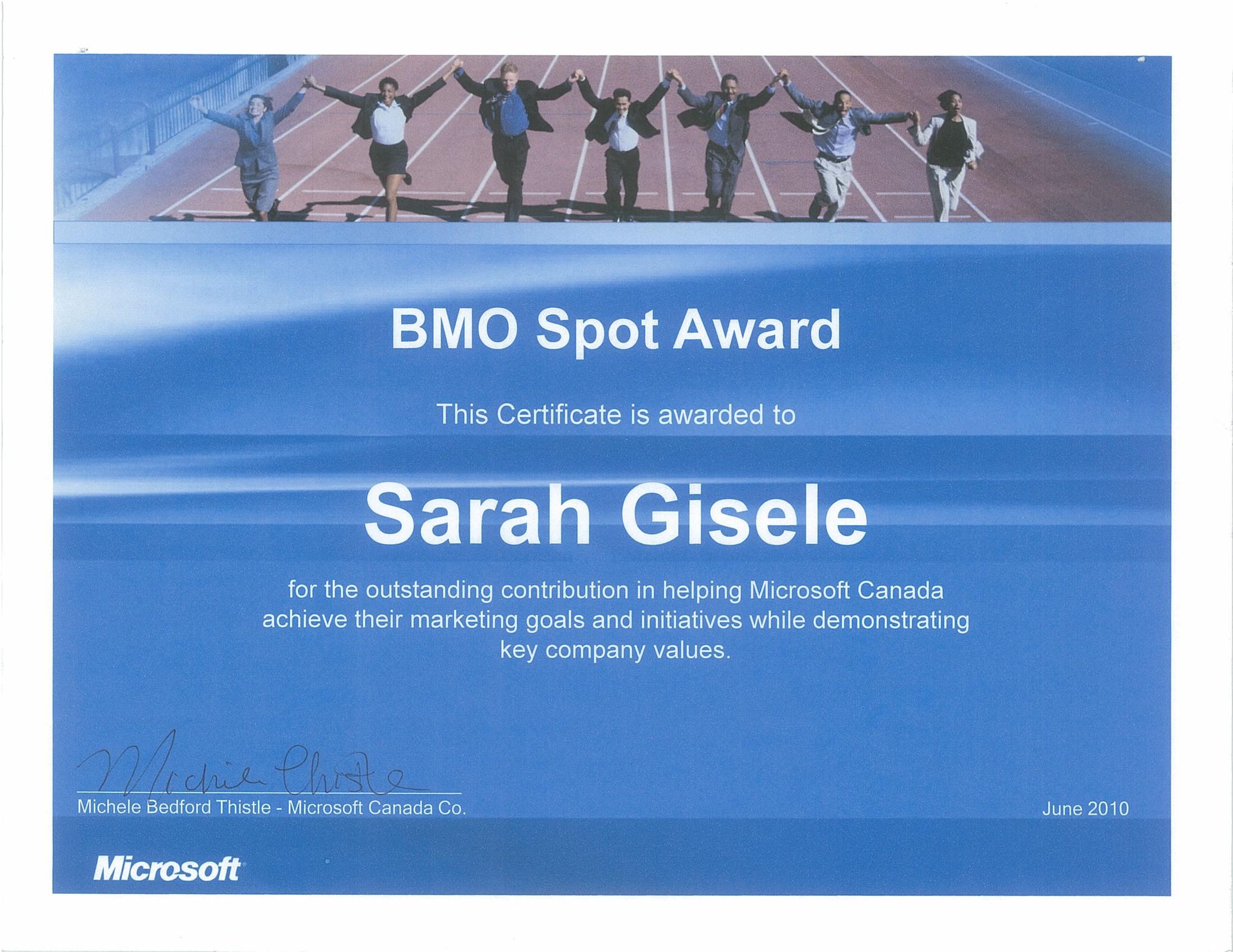 microsoft canada  bmo spot award