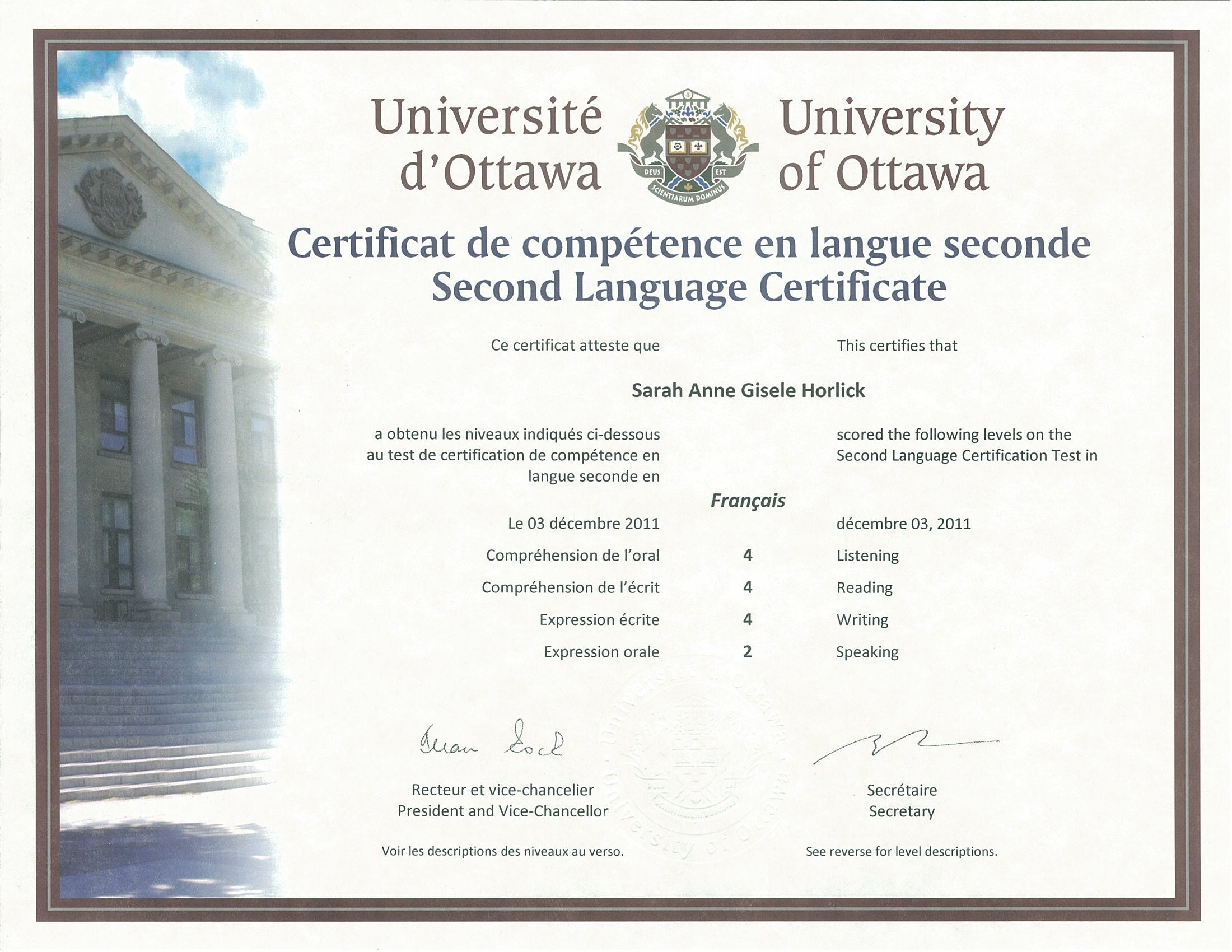 University of Ottawa Second Language Certificate (French) | Sarah ...